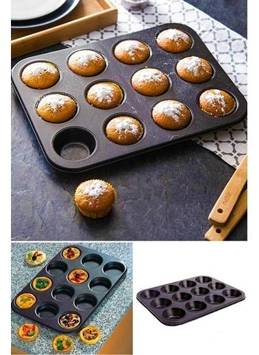 Kitchen Love 12Bölmeli-35x26Cm Yapışmaz Teflon Muffın Kalıbı Renkli